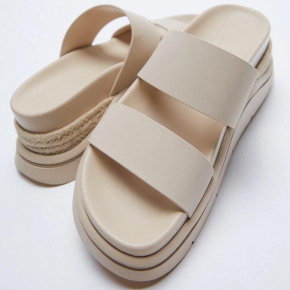 NWT Chunky Ecru Esparto Detail Sandals, 9